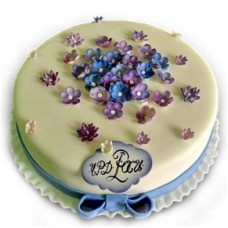 Cake with blue flowers - 20 pieces