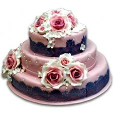 Wedding cake - Pink roses - 16 pieces