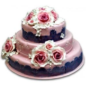 Wedding cake - Pink roses - 16 pieces