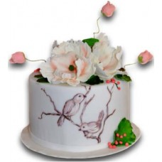 Cake with white flowers - 16 pieces