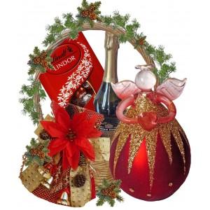 Glass Angel in Christmas Gift Basket