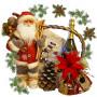 Santa Ski in Christmas Basket
