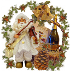 Musical Santa Violin gift basket