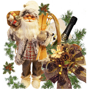 Santa Gray Coat in Christmas Gift Basket