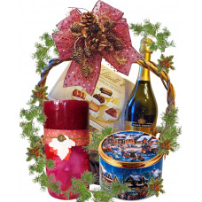 Scented candle in a gift basket
