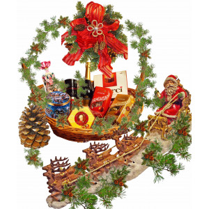 Santa's Sleigh in Christmas Basket
