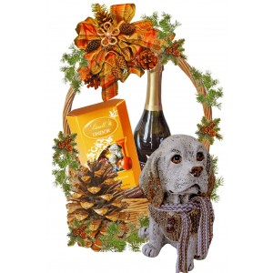 Resine Dog in Christmas Basket