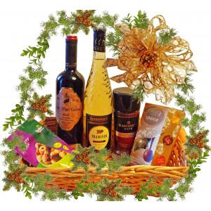 Думи на благодарност - Коледна кошница с вино