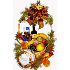 Cookie and fruit Christmas basket