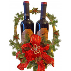 Double wine Christmas basket