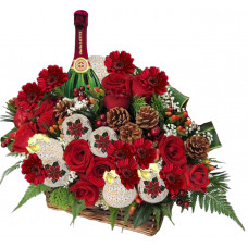 Christmas flowers - Flowers and Wine Basket