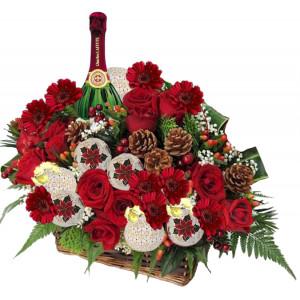 Christmas flowers - Flowers and Wine Basket
