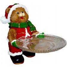 Коледно мече с поднос за сладки
