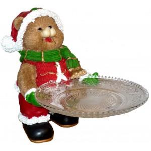 Мече с поднос - Подарък за Коледа