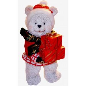 Мече с подаръци - Коледна украса