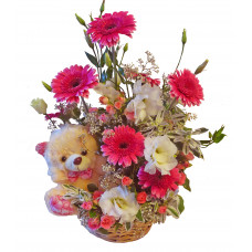 New born girl - flower basket