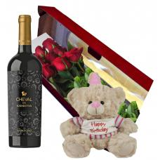 Roses, Wine and Teddy Lily