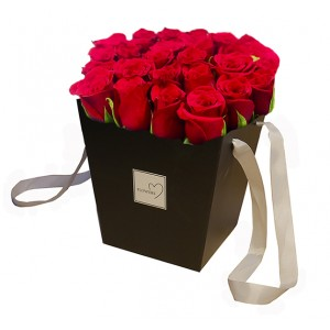 Red roses in a box