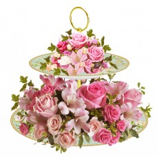 Isabel - flower arrangement on Cake Stand Centerpiece