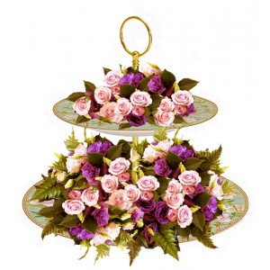 Carmen - Flower arrangement on Cake Stand Centerpiece