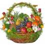 Кошница с плодове и цветя