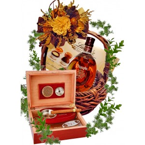 Wooden humidor  in gift basket