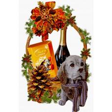 Resine Dog in Christmas Basket