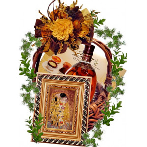 The kiss - Ceramic wall plaque in basket