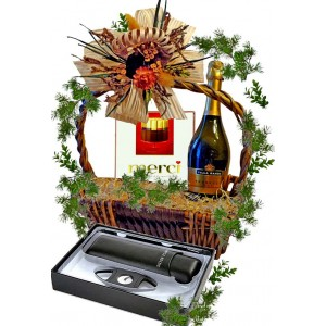 Cigar accessories in gift basket