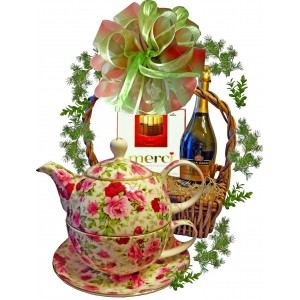 English rose - Tea-pot in basket