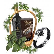 Men's Lion Bracelet in gift basket