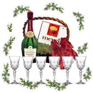 Wine glasses in gift basket