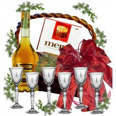 Brandy glasses in gift basket