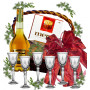 Brandy glasses in gift basket