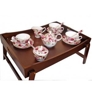 Bed tray and English roses set