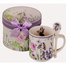 Porcelain cup with spoon - Lavender