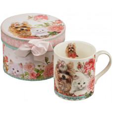 Porcelain cup - Cat and dog