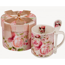 Porcelain cup with spoon - Roses