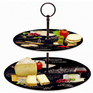 2 Tier porcelain plates - World of Cheese