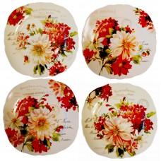 Set 4 porcelain plates - Season Flowers