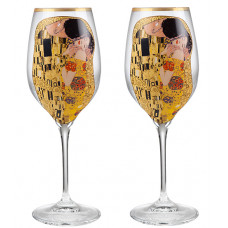The Kiss - 2 White Wine Glasses
