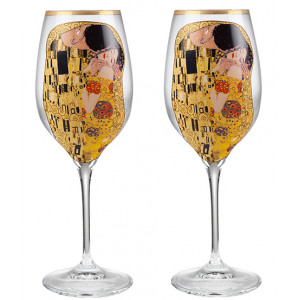 The Kiss - 2 White Wine Glasses