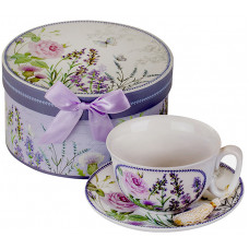 Porcelain Set Cup and Saucer - Lavender