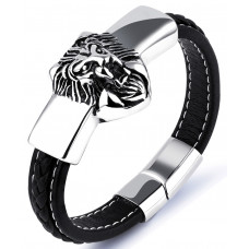 Men's Leather Lion Bracelet
