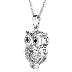 Owl - Pendant dancing zirconium