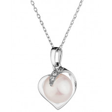 Mia - White Pearl Heart Necklace