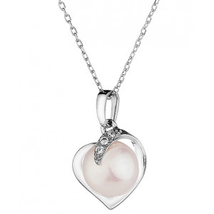 Mia - White Pearl Heart Necklace