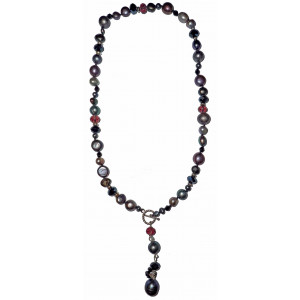 Sarah - Mixed dark pearls and crystal necklace.