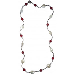 Katie - Pearl and carneol necklace
