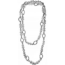Julia - White Pearls and metal chain Necklace